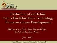 Evaluation of an Online Career Portfolio - The Career Center
