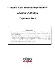 Tansania-Briefing 1 - Erlassjahr.de
