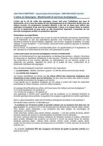 Jean Pierre SARTHOU – Agroécologue ... - Arbre & Paysage