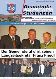 Gemeinde NACHRICHTEN Studenzen