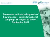 Awareness and early diagnosis of bowel cancer - reminder national ...