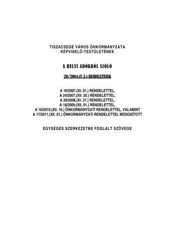 Tiszacsege Város Önkormányzata Képviselő-testületének