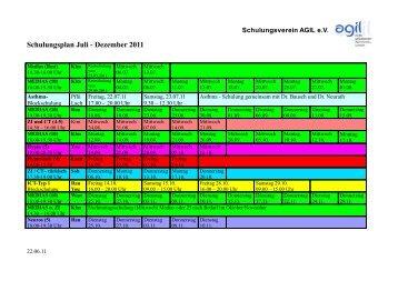 Schulungsplan Juli - Dezember 2011