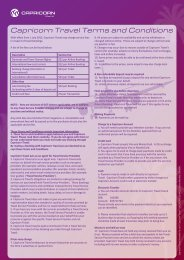 Capricorn Travel Terms and Conditions - Capricorn Society