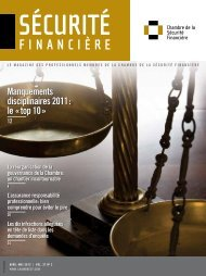 avriL-mai 2012 | voL. 37 no 2 - Chambre de la sécurité financière