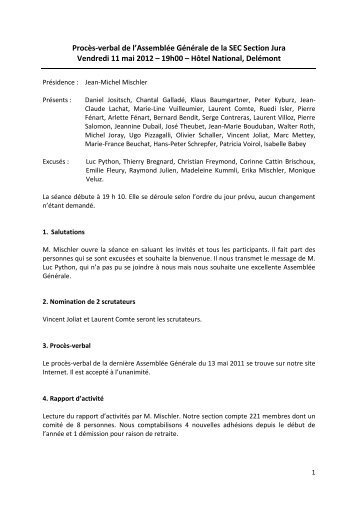 Le procès-verbal (PDF, 215 kb) - KV Schweiz