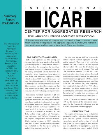 Summary Report ICAR-201-1S - International Center for Aggregates ...