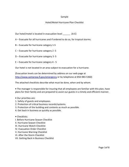 sample hotel motel hurricane plan checklist our hotel motel is