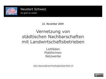Vernetzung von städtischen Nachbarschaften mit ... - Neustart Schweiz