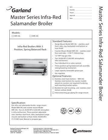 Master Series Broilers Spec Sheet - Garland - Garland Group