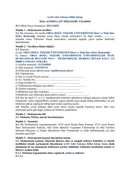 6.242 Adet Yabancı Dilde Kitap MAL ALIMINA AİT ... - METU Library
