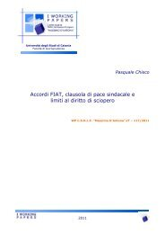 Accordi FIAT, clausola di pace sindacale e limiti al diritto di sciopero