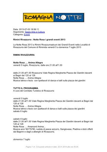 Rimini Rivazzurra : Notte Rosa i grandi eventi 2013 - RomagnaNotte