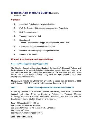 Monash Asia Institute Bulletin (10/2009) - Monash Arts Online ...