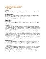 Wausau Wellness Center Farmers Market Vendor Information and ...