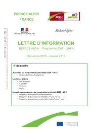 Janvier 2010 - FEADER en Rhône-Alpes