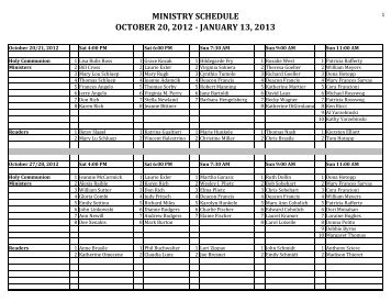 MINISTRY SCHEDULE OCTOBER 20, 2012 - JANUARY 13, 2013