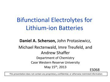 Bifunctional Electrolytes for Lithium-ion Batteries - Department of ...
