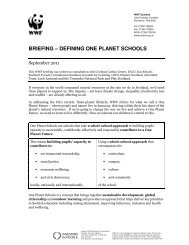 BRIEFING – DEFINING ONE PLANET SCHOOLS - WWF UK
