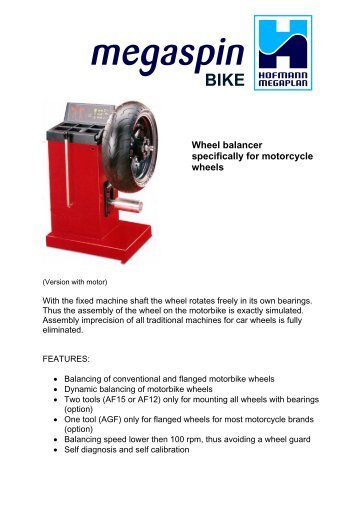 BIKE Wheel balancer specifically for motorcycle wheels