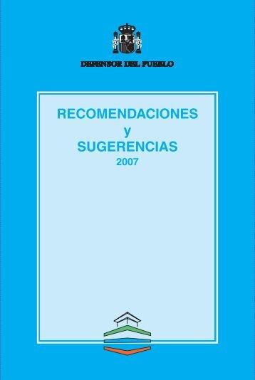 Recomendaciones y Sugerencias 2007 - Defensor del Pueblo