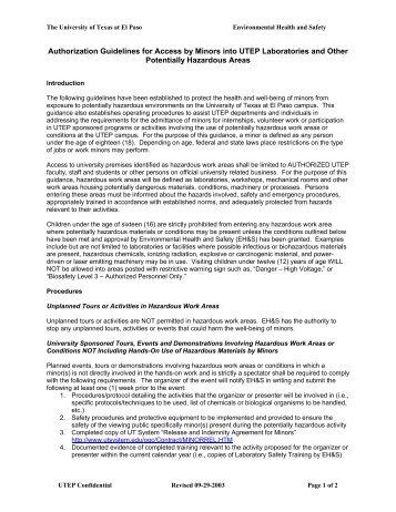 Guidelines for Minors and Unauthorized Persons in UTEP ...
