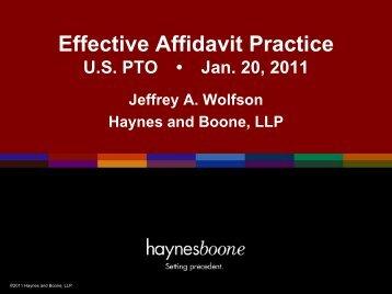 Effective Affidavit Practice