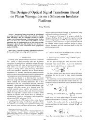 The Design of Optical Signal Transforms Based on Planar ... - IJET