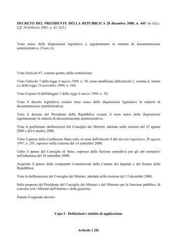 Artt 46 e 47 del dpr 28 dicembre 2000 n 445 for Decreto presidente della repubblica