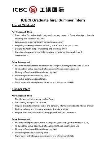 ICBCI Graduate hire/ Summer Intern