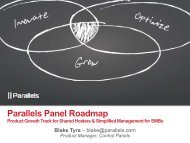 Parallels Panel Roadmap