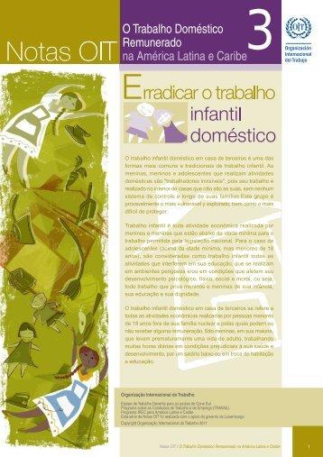 O trabalho infantil doméstico em casa de terceiros é uma das ... - OIT
