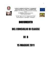 DOCUMENTO DEL CONSIGLIO DI CLASSE III B 15 MAGGIO 2011