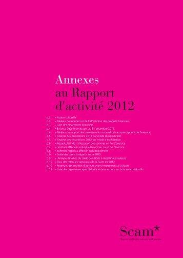 les annexes du rapport 2012 - Scam