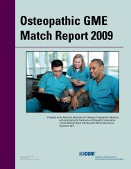 Osteopathic GME Match Report 2009 - AACOM Home Page
