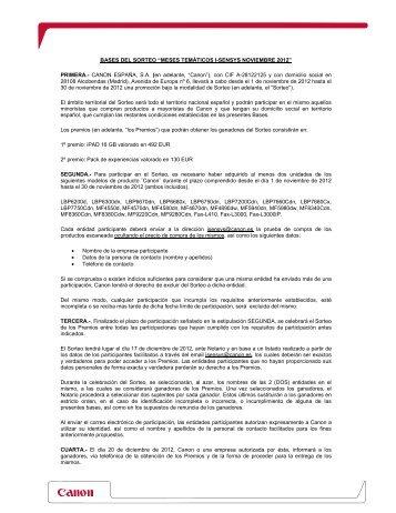 BASES SORTEO MESES TEMATICOS iSENSYS ... - Canon España