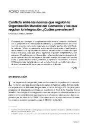 Conflicto entre las normas que regulan la Organización Mundial del ...