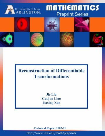 Reconstruction of Differentiable Transformations - The University of ...