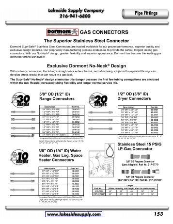 Dormont: Gas Connectors - Lakeside Supply Company
