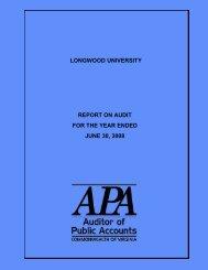 2008 - Virginia Auditor of Public Accounts