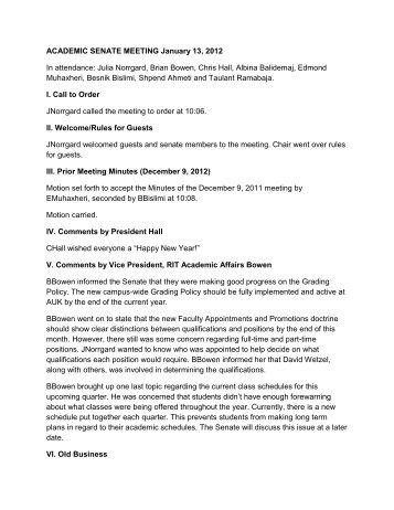 ACADEMIC SENATE MEETING January 13, 2012 In ... - AUK