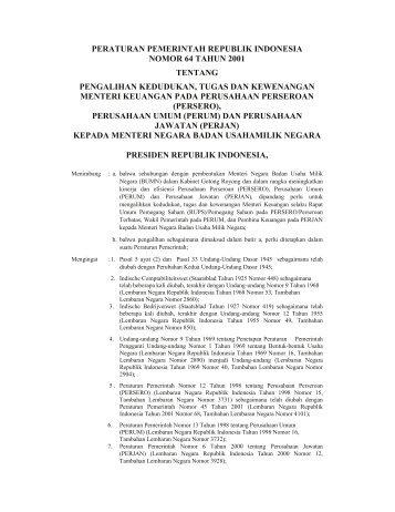 peraturan pemerintah republik indonesia nomor 64 tahun 2001 ...