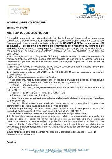 HOSPITAL UNIVERSITÁRIO DA USP EDITAL HU 68/2011 ...
