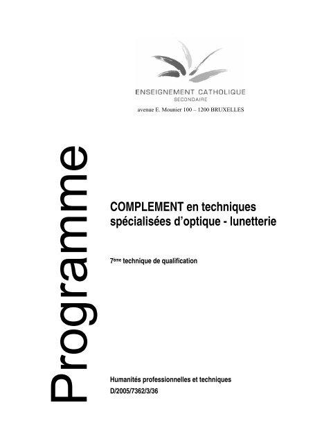 COMPLEMENT en techniques spécialisées d'optique - lunetterie