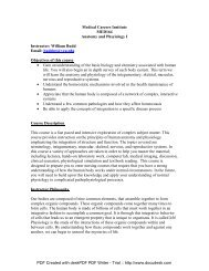Medical Careers Institute MED164 Anatomy and Phsyiology I ...