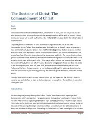 The Doctrine of Christ - Wellington Baptist Temple