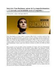Interview Tom Rachman, auteur de Les ... - Le Livre de Poche