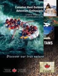 Canada's Hard Outdoor Adventure Enthusiasts - Canadian Tourism ...
