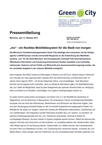 """""""mo"""" - ein flexibles Mobilitätssystem für die Stadt von ... - Green City eV"""
