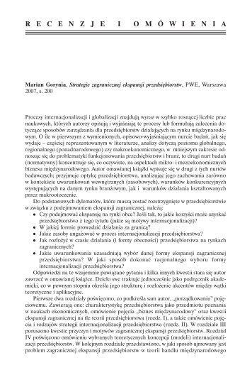 Rec. T. Gołębiowski: Strategie zagranicznej ekspansji ...